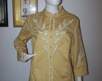 Vintage 1990s Bob Mackie Wearable Art Pale Mustard Yellow Blouse Medium PeekaBoo Embroidery Fashion Jacket Womens Spring Easter  Mothers Day
