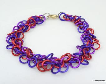 Red, Purple and Violet Shag Chainmaille Bracelet, Colorful Aluminum Bracelet, Chainmail Bracelet, Chain Mail, Renaissance, Gift under 25