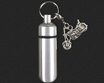 Motorcycle  - Ashes Urn - Cremation Necklace - Ashes Holder - Vial Key Chain - Biker