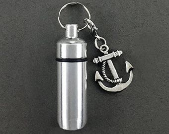 Anchor - Sailor - Ashes Urn - Cremation Necklace - Ashes Holder - Vial Key Chain - Boat