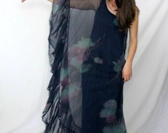 Mr Blackwell Blue Formal Dress - One Shoulder - Floral Chiffon - 1970s Vintage - Small