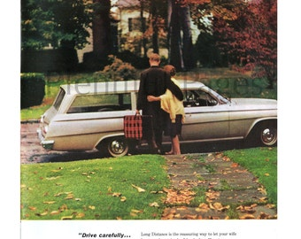 1964 Bell Telephone Vintage Ad, Bell System, 1960's Couple, Long Distance, 1960's Station Wagon, Fall Day, Advertising Art, Great to Frame.