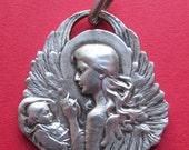 Guardian Angel And Child Antique Sterling Silver Religious Medal Art Nouveau Pendent Signed Felix Rasumny  SS515