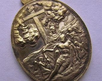 Antique French Virgin Mary Sorrowful Mother And Jesus At The Cross 1080 Indulgences Religious Medal Pendant