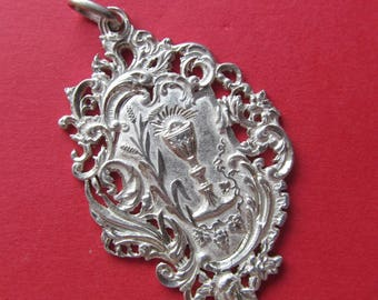 Antique Silver French Eucharist Religious Medal  Holy Communion Pendant Dated 1892   SS-350