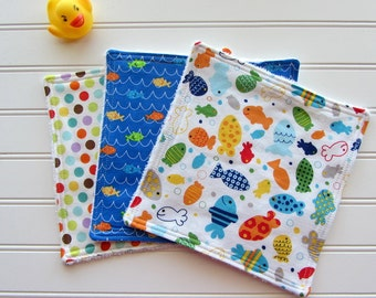 Baby Boy Fish Washcloth Set of 3, Diaper Bag Wipes, Baby Boy Bath Set, Baby Boy Shower Gift, Baby Boy Bath Gift, Fabric Baby Wipes