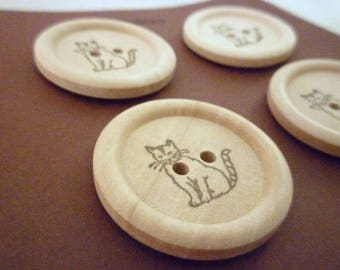 Wooden Buttons - Stamped Cat Collection - 30mm