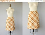 LAST CALL 50% OFF.. 1960s Skirt | 60s Skirt | Plaid Skirt  Wool Skirt 60s | Mustard Plaid Skirt