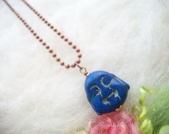 Buddha Necklace Blue Buddha Head Bead Copper Ball Chain Zen Jewelry Chinese Buddha Meditation Yoga Necklace