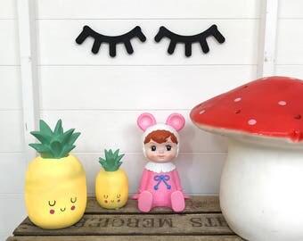 Super Cute Kawaii Happy Pineapple Night Light Lamp in Sunshine Yellow & Tropical Green