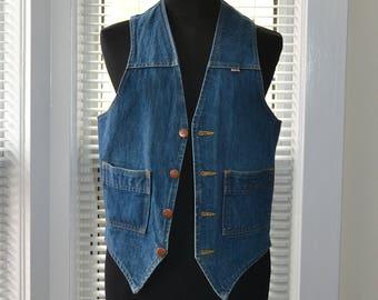 Vintage 70s Vest - Denim by GWG - Slim fit - Rocker Style - Jean Waistcoat - Mens xxs/xs