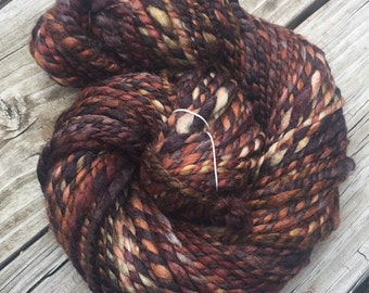 Treasure Chest Handspun yarn Wool Blends Yarn Bulky Weight chocolate brown burgandy gray gold bulky weight Two Ply 2 Ply 69 yards