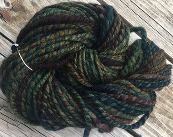 Sea Creature from the Depths Handspun yarn Wool Blends Yarn Bulky Weight dark brown forest green gold Two Ply 2 Ply 61 yards