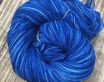 Hand Dyed Sock Yarn Swimmin with the Fishes Royal Blue Hand Painted sockyarn 463 yards superwash merino nylon fingering sapphire blue bird