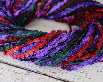 Pretty Hand Dyed Braided Rococo Trim in GYPSY CARAVAN, 3 yards