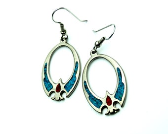 Vintage Phoenix Theme Turquoise and Red Coral Crushed Chip Inlay Silver Dangle Earrings