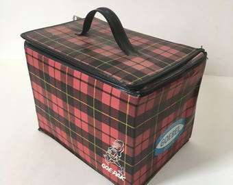 Vintage Plaid Goebel Beer Cooler, Detroit, Six Pack Cooler, Beer, 1950s