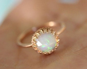 Holidays Sale - Rose Cut Opal In 14K Gold Ring, Recycled Gold, Eco Friendly Gold, Engagement Gold Ring - Made To Order