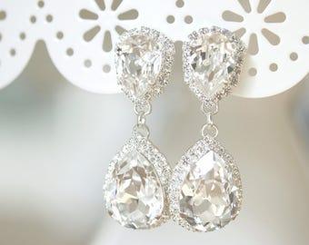 Bridal Earrings -  Double Rhinestone Teardrop