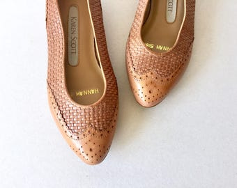 Brown Woven Leather Flats Size 5.5 Womens - Semi Pointed Toe Brown Leather Wingtip Oxford Flats - Never Used Karen Scott Woven Leather Flats