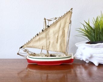 Vintage Wood Sailboat - Red Hull Boat with Linen Sail - Nautical Decor Wooden Sailboat