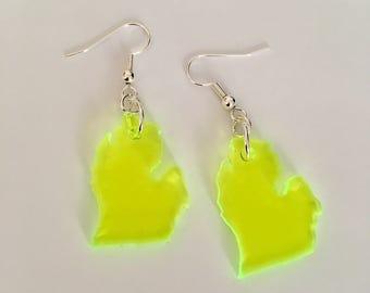 Neon Green Michigan Earrings, State Jewelry, Fluorescent Acrylic Earrings