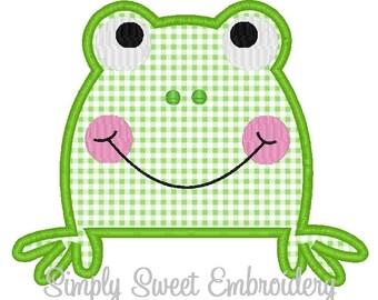 Frog Face Machine Embroidery Applique Design