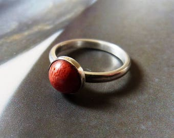 Coral stacking ring, silver ring, handmade metalwork ring, natural jewelry, gift for mother, gift idea, stacking ring, 30th birthday gift