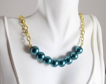 Teal blue glass pearl statement necklace