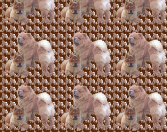 Red Chow Chow dog breed fabric