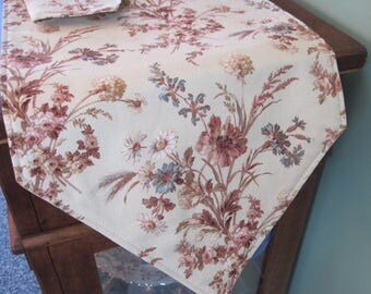 "Beige Floral Table Runner 54""-72"" Reversible Neutral Floral Table Runner Beige and Mauve Runner Table Beige Table Decor  Tan Kitchen Linens"