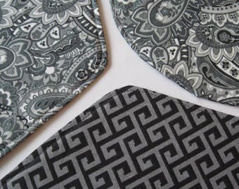 Gray Black Wedge Placemats Set of 4 5 or 6 Reversible Gray Paisley Wedge Placemats Gray Greek Key Placemats Round Table Grey Table Decor