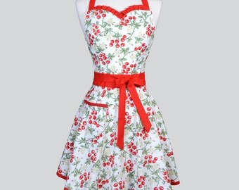 Sweetheart Womens Retro Apron - Cute Red and White Cherries Jubilee Vintage Style Pin Up Kitchen Hostess Woman Apron