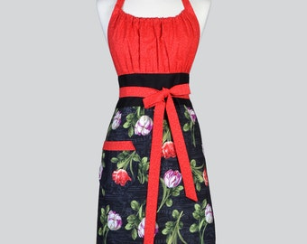 Cute Kitsch - Retro Red and Black Spring Tulips Floral Vintage Style Chef Woman Apron for Easter or Mothers Day Gifts for Her