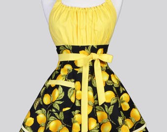 VIXEN Flirty Chic Apron - Black and Yellow Farmers Market Lemons Womens Retro Vintage Style Pin Up Kitchen Cooking Woman Apron with Pockets