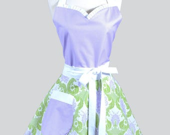 Sweetheart Pin Up Womans Apron . Spring Purple and Green Damask Vintage Inspired Cute and Flirty Hostess Kitchen Apron with Pockets
