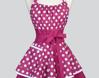 Womens Flirty Chic Apron . Berry Purple and White Polka Dots Cute Retro Vintage Style Pin Up Kitchen Apron with Pockets