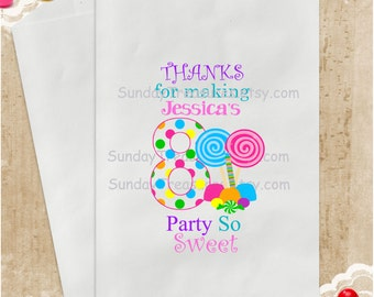 12 Pak Candyland BIRTHDAY Candy Party Favor Bags / Age 1 2 3 4 5 6 7 8 9 10  PERSONALIZED / Thanks for Making My Party So Sweet / 3 Day Ship