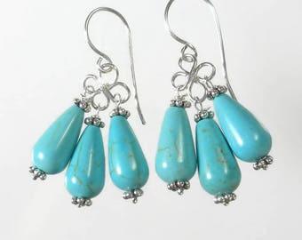 Turquoise Drop Earrings, Turquoise Chandelier Earrings, Sterling Silver