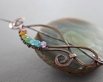 Rainbow shawl pin in swirly paisley design with multicolored agate stones - Hair pin - Fibula - Hair slide - SP084