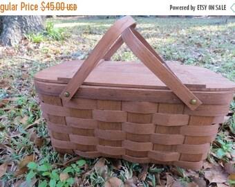 SALE Vintage Wooden Woven Picnic Basket by Basketville Vermont