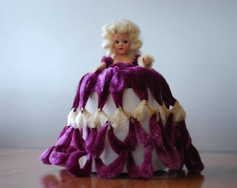 vintage purple chenille pipe cleaner doll - toilet paper cover - 1960's - kitsch