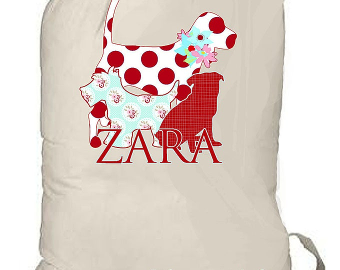 LAUNDRY BAG, Large Personalized Drawstring Bag, College Dorm Bag, Laundry Duffle Bag, Summer Beach Bag, Dog Lover Gift, Grad Gift, Camp bag