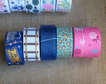 SALE LOT #55, 25 yards grosgain ribbon, Lollipops, Cheetah, Leopard, Polar Express, Train, Christmas
