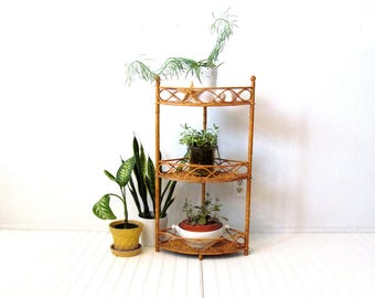 Vintage Wicker Bamboo and Rattan Corner Shelving Unit, Boho Bathroom or Plant Shelves, Nook Shelfie
