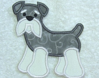 Schnauzer Dog Fabric Embroidered Iron On Applique Patch Ready to Ship