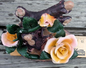 YELLOW ROSES, Brown Ceramic Tree, Figurine,