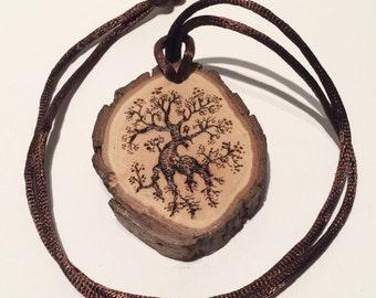 Elven Tree Woodlands Forest Necklace Tree Slice Pendant