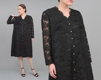 Vintage 60s Black Lace Dress | Scalloped Lace Shift Dress | 1960s Cocktail Dress | Sheer Long Sleeve Dress | Rhinestone Buttons | Large L