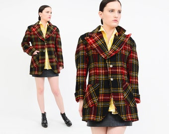 LANDLUBBER Vintage 70s Tartan Plaid Jacket - Wool Blazer - Nipped Waist Preppy Hippie Coat - Black Red Yellow - Medium Large M L